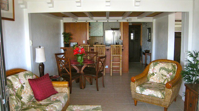 Honu Penthouse – living room and kitchen